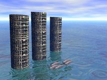 Dolphin City 2. Illustrated dolphin pod swimming by futuristic buildings Royalty Free Stock Images