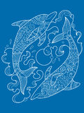 Dolphin coloring book for adults vector Royalty Free Stock Photos