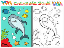Dolphin coloring book. Dolphin fish children funny coloring drawing image Stock Image