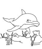 Dolphin coloring page. Cute dolphin coloring page, useful as coloring book for kids Royalty Free Stock Image