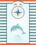 Dolphin and compass rose Royalty Free Stock Image