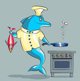 The dolphin is the cook. The smiling dolphin the cook, in a kitchen uniform prepares fish Royalty Free Stock Photo