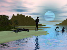 Dolphin Cove. Computer generated scene of a man and woman relaxing on a moonlit beach watching dolphins leave the cove Royalty Free Stock Image