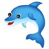 Dolphin. Cute happy dolphin isolated on white background clip art Stock Image