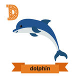 Dolphin. D letter. Cute children animal alphabet in vector. Funn Stock Image