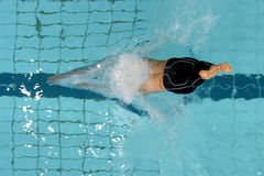 Dolphin dive 01. A swimmer dives head first into a pool at the start of a race Royalty Free Stock Photography