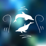 Dolphin with doodles. Two dolphins with doodles with blue background Royalty Free Stock Photos