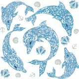 Dolphin drawing, sea animal, illustration of mammal, seashell, anchor and flowers, floats with fish, tattoo of lines, tail and fin. The dolphin with the drawing Stock Photo