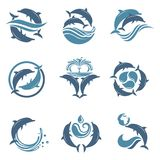 Dolphin emblem set. Collection with abstract emblem of dolphin and sea wave Stock Photo