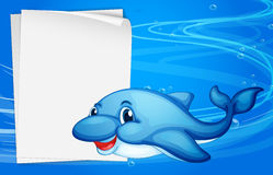 A dolphin beside an empty paper under the sea. Illustration of a dolphin beside an empty paper under the sea Royalty Free Stock Photo