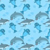 Dolphin family and sea lion seamless pattern. Dolphin family and sea lion swiming in the sea seamless pattern vector illustration