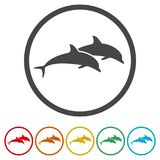 Dolphin fish animal silhouette, Silhouette dolphin, 6 Colors Included. Simple vector icons set Stock Photo