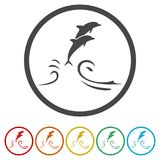 Dolphin fish animal silhouette, Silhouette dolphin, 6 Colors Included. Simple vector icons set Royalty Free Stock Photo
