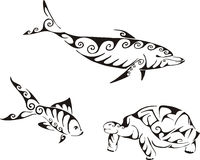 Dolphin, fish and turtle in tribal style Royalty Free Stock Image