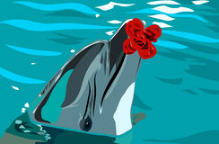Dolphin and flower in the water Royalty Free Stock Images