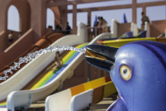 Dolphin fountain in aqua park Royalty Free Stock Photography