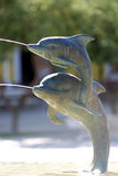 Dolphin fountain in Mali Losinj,Croatia. Two dolphin's fountain in Mali Losinj on the main square Royalty Free Stock Photography