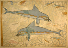 Dolphin frescoes from Queen Palace at Knossos, Crete Island Royalty Free Stock Image
