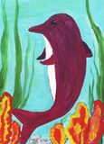 Dolphin gouache drawing. Original kid's drawing of dolphin Royalty Free Stock Images
