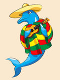 Dolphin and guitar. The cheerful dolphin in a sombrero and color Mexican clothes plays a guitar Stock Image