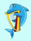 Dolphin - harpist. Laughing, blue  dolphin plays a gold harp Royalty Free Stock Photo