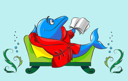 The dolphin has a rest. Cheerful, blue, the dolphin in a dressing gown lies on a sofa with the book in a fin Stock Photo