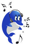 Dolphin with headphones. Blue Dolphin listen to music with headphones Royalty Free Stock Photo