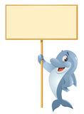 Dolphin holding blank banner. Cartoon styled vector illustration. No transparent objects. Isolated on white Stock Photos