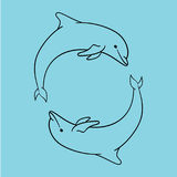 Dolphin icon blue outline style isolated. stock illustration