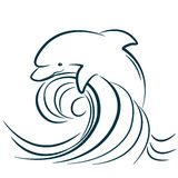 Dolphin illustration jumping in water wave. vector royalty free illustration