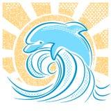 Dolphin illustration jumping in water waves vector illustration