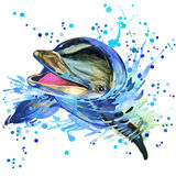 Dolphin illustration with splash watercolor textured background. Dolphin T-shirt graphics, dolphin illustration with splash watercolor textured background