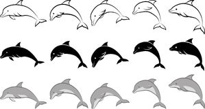 Dolphin. Isolated dolphin - clip art illustration and line art Royalty Free Stock Photography