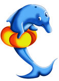 Dolphin with jacket. Color illustration of a dolphin who needs a life preserver to swim Stock Image