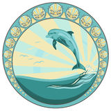 Dolphin jumping. Among ocean waves - round vector label Royalty Free Stock Image