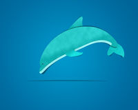 Dolphin Jumping. On Blue Background, paper cutting Royalty Free Stock Photo