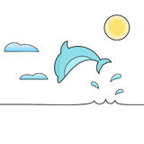 Dolphin jumping out of the water isolated vector illustration. Clouds and sun on the background. In minimalist style Royalty Free Stock Photo