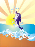 Dolphin jumping out of water, vector illustration. Dolphin jumping out of water on sea coast, vector illustration Stock Photos