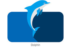 Dolphin jumping outside the sea flat icon design Stock Photos