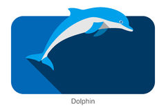 Dolphin jumping outside the sea flat icon design Royalty Free Stock Photos