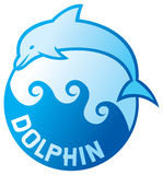Dolphin jumping symbol Royalty Free Stock Photography