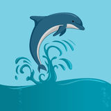 The dolphin jumping. The dolphin who is jumping out of sea water on blue background, isolated. Vector illustration Stock Photography