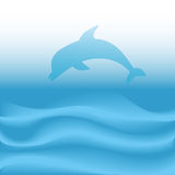 Dolphin Jumps Dives on Abstract Blue Ocean Waves. A dolphin jumps and dives into abstract blue deep sea ocean waves Royalty Free Stock Image