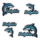 Dolphin jumps logo on white. Set Blue Dolphin jumps logo. Emblem for a sport team. Vector illustration isolated on white Royalty Free Stock Photos
