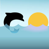 Dolphin Jumps Ocean Waves Sunset. A clipart dolphin silhouette jumps and dives on deep sea ocean waves at sunset or sunrise Royalty Free Stock Images