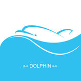 Dolphin logo on blue sea wave background.Vector flat illustration Stock Image