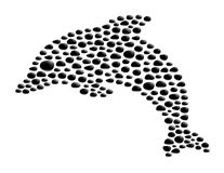 Dolphin made from black stones. On white background Stock Image