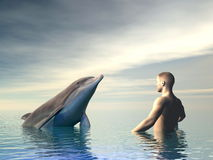Dolphin and man - 3D render Royalty Free Stock Image