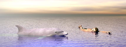 Dolphin and man - 3D render Royalty Free Stock Images