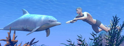 Dolphin and man swimming - 3D render Royalty Free Stock Image